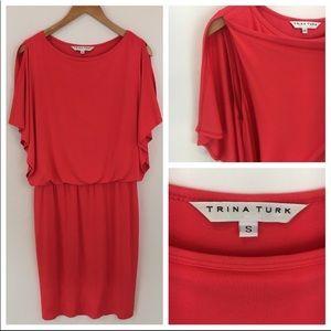 NWOT Trina Turk pink coral cold-shoulder dress S